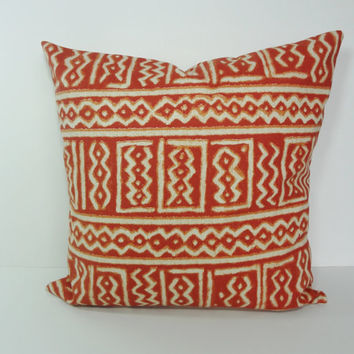 Brunt Orange Geometric Decorative Pillow Cover,  Aztec Cushion Cover, Rust, Orange, 16 x 16, 18 x 18