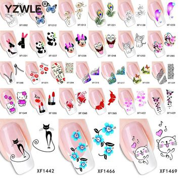 1 Sheet 2018 Top Sell Flower Bows Etc Water Transfer Sticker Nail Art Decals Nails Wraps Temporary Tattoos Watermark Nail Tools
