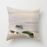 Green rocks at sunset Throw Pillow by Guido Montañés
