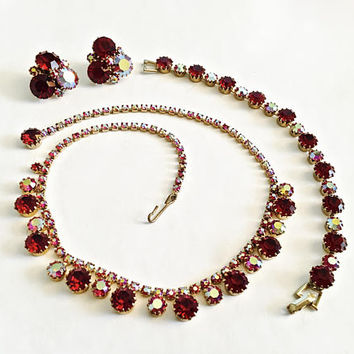 Vintage Signed Weiss Parure-Necklace, Earrings, Bracelet with Prong Set Brilliant Ruby Red and Aurora Borealis Rhinestones Gold Tone Setting
