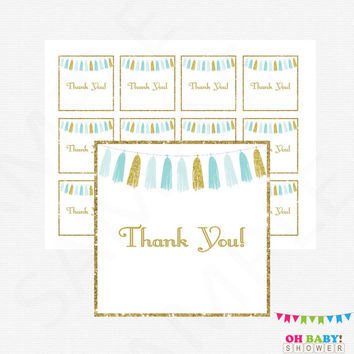 Blue and Gold Baby Shower Thank You Tags, Blue Gold Favors Cards, Gift Tags, Baby Shower Decor, Boy Baby Shower, Thank Yous, Tassels TASBG