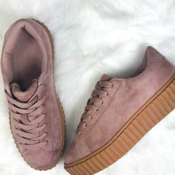 Model Behavior Pink Suede Sneakers