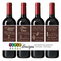 Anniversary Wine Bottle Labels You Choose Colors Wedding Wine Labels Customized Personalized Set of 4