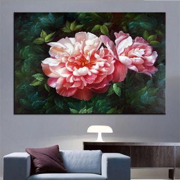Wall Art, Wall Decor, Wall flower Painting pink Chinese herbaceous peony original oil Painting Print for wall picture no frame