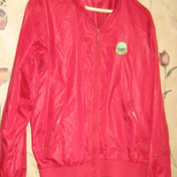 vintage 80s red nylon mens golf jacket   size med