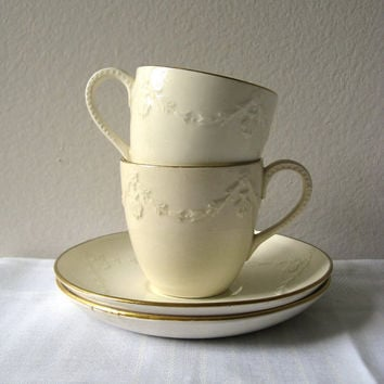 Wedgwood Cup and Saucer Cream Garland Gold Gilt Two by pillowsophi