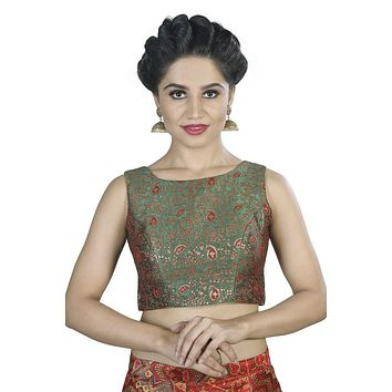 Designer Indian Traditional Green Brocade Silk Padded  Sleeveless Saree Blouse Choli (X-488.As)