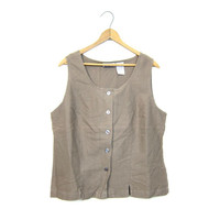 Linen & Cotton Tank Top Minimal Taupe Blouse Sleeveless Basic Top Simple Button Up Boxy Top Vintage 90s Slouchy Shirt Womens Medium