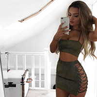 Olive You Suede 2 Piece Set
