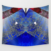Royalty Inspired Blue Red Gold Abstract Wall Tapestry by Sheila Wenzel
