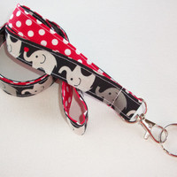 Lanyard  ID Badge Holder - Lobster clasp and key ring - design your own gray elephants on black with red polka dots - two toned double sided