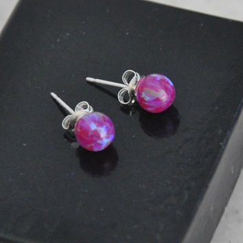6mm Ball Stud Post earrings, Purple Earrings,Opal Earrings, Sterling Silver Earrings, Purple opals, Australian Opal, 925 Sterling Silver
