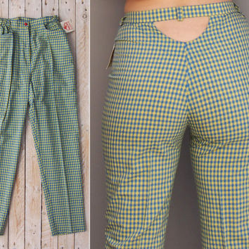 Vintage Gingham Cut Out Pants - Vintage 1990s DEADSTOCK Tailored HIgh Waisted  Ankle Trousers - Revival Picnic Blue Lime Green Small S Pants