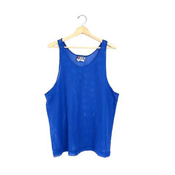 vintage cut out mesh tank top. sporty blue net top. minimalist sheer shirt. mens muscle tank top. sports tank. oversized slouchy. unisex XL