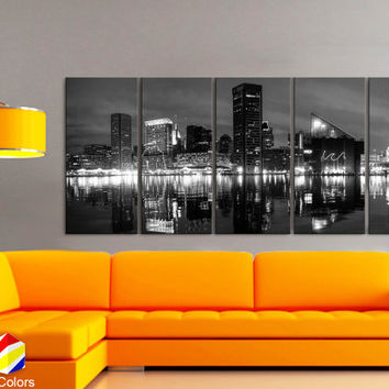 "XLARGE 30""x 70"" 5 Panels Art Canvas Print beautiful Baltimore Skyline night Black & White Wall Home Office decor ( framed 1.5"" depth)"