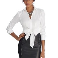 White House | Black Market Iconic Siren Tie Front White Shirt