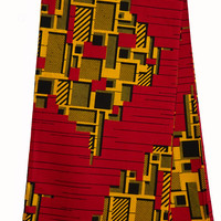 African print fabric sold by yard Red Yellow, African print fabric, abstract print fabric, fashion African fabric, wax print, Ankara fabric