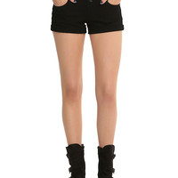 Black V-Stitch High-Waisted Shorts