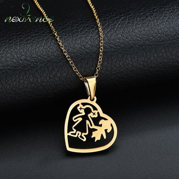 Nextvance Mama Mom Daughter Girl Hollow Heart Pendant Necklace Forver Love Sisters Family Necklaces for Female Christmas Gift