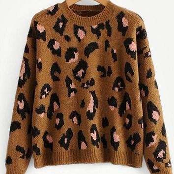 Pink Spotted Leopard Print Sweater