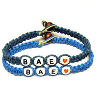 Bracelets for Couples or Best Friends, BAE, Before Anyone Else, Dark Teal and Bright Blue Hemp Jewelry, Made to Order