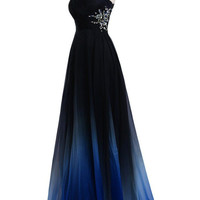 One Shoulder A-Line Chiffon Prom Dresses Evening Dresses
