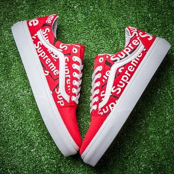 Vans X Supreme Canvas Old Skool Flats Sneakers Sport Shoes Red