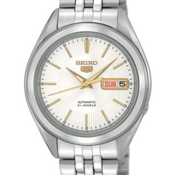 Seiko 5 Automatic Mens Watch - White/Silver Dial with Gold-Tone - Steel Bracelet