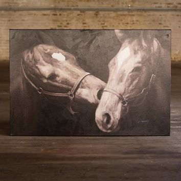 Oil Painting Black & White Kissing Horses