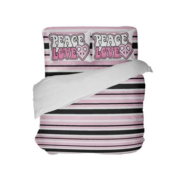 Pink and Black Striped Peace Love Comforter Set