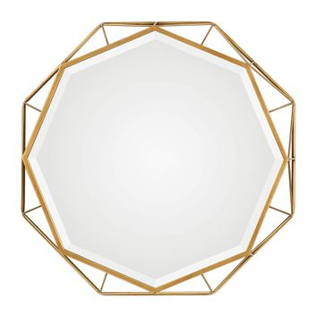 Mekhi Contemporary Antiqued Gold Leaf Round Decorative Wall Mirror by Uttermost