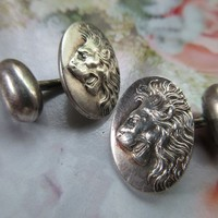 Antique Sterling Lion Cuff Links Cufflinks