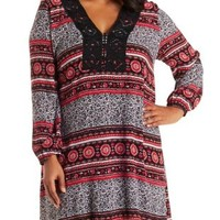 Plus Size Burgundy Crochet Shift Dress by Charlotte Russe