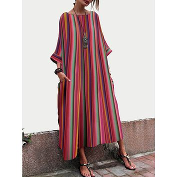 2018 Oversized Bohemian Striped Bell Sleeve Maxi Dresses Loose Causal Plus Size Mid-Claf Pocket Long Dress Vestidos Size S-5XL