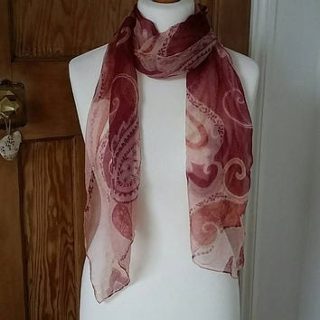 Vintage sheer scarf pink purple chiffon neck head scarves boho peasant style festival folk hippie ladies shawl gypsy Dolly Topsy Etsy UK