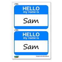 Sam Hello My Name Is - Sheet of 2 Stickers