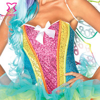 Rainbow Sequin Corset Top Women Burlesque Neon Rave Clothing Sexy Corsets Espartilho Sequin Unicorn Costume Kit Corpete Corselet