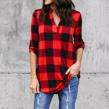 Plaid Shirt Women Long Tops Plus Size Long Sleeve Blouses Cotton Blend V Neck Office
