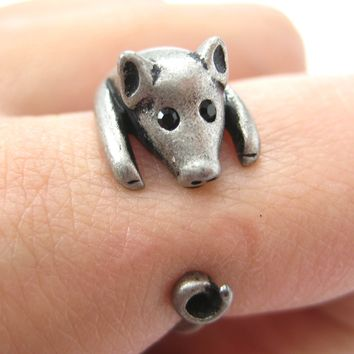 Pig Piglet Animal Wrap Around Ring in Silver - Sizes 4 to 8.5 Available