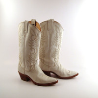 White Cowboy Boots Vintage 1980s Dan Post by purevintageclothing