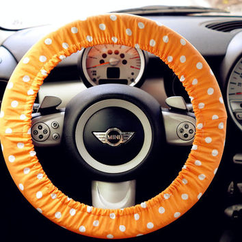 Orange and white polka dots Print Car Steering wheel cover, Flowers Auto Steering Cover, Car Decor, Automobile Wheel cover