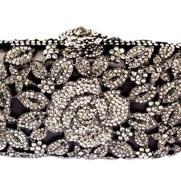 Metal Luxury Hollow Cut Flower Crystal Clutch Wedding Purse