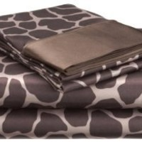 Royal Opulance Satin King Sheet Set, Giraffe, Brown/Ivory
