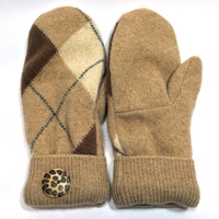 Brown-Beige Cashmere Wool Mittens - Medium - 0760