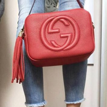 GUCCI Fashion Women Shopping Leather Pure Color Shoulder Bag Crossbody Satchel Red