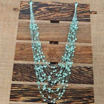 Draping Berry Crystal Bib Necklace