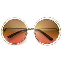 Indie Retro Dual Metal Round Mirrored Lens Sunglasses 9621