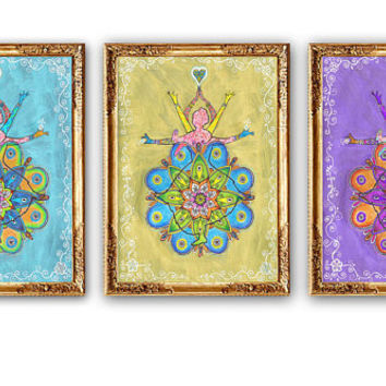 Set 3 Piece Mandala Paintings, Dancing Woman Painting, Mandala wall art decor, Mandala art PRINT, Golden Purple Blue painting, Boho Yoga art