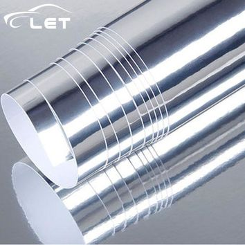 high stretchable silver Chrome Air Bubble Free Mirror Vinyl Wrap Film Sticker Sheet emblem Car Bike Motor Body Cover