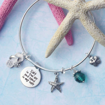 starfish beaded bracelets, flipflop charm bracelet, beach bracelets, ocean jewelry, nautical jewelry, expandable bracelet, bangle bracelet